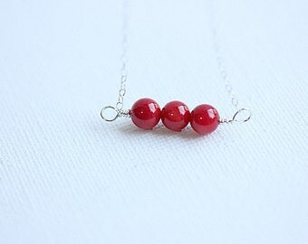 Red Coral Bar Necklace,Natural Red Coral Necklace,Silver Red Bar Necklace, Red Coral Necklace, ,Red Coral Jewelry,Red Necklace,Romantic Gift