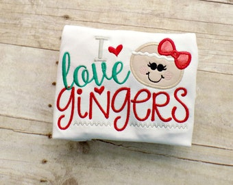 Girls Christmas Gingerbread Shirt, I love Gingers, Red, Green, Red Glitter Girls, Toddlers Gingerbread Shirt,Infants, Embroidered, Appliqued