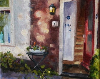"""small oil painting, """"A welcoming home"""", 8x8 inch, oil on stretched canvas"""