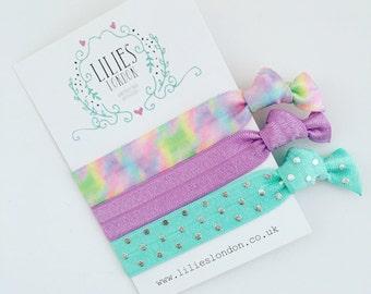 Pretty hair ties, pastel hairbands, watercolour hairties, knotted hair ties, purple hair bands, elastic bracelet, stretchy hairties