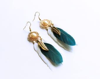 Pearl Dreamcatcher Earrings, White Blue Bronze Feather Earrings, Boho Aboriginal Native American Earrings, Long Feather Earrings