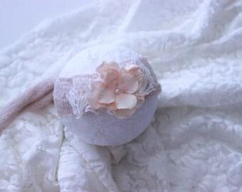 Baby headband, pink headband, newborn tieback, Flower tieback, newborn headband, baby accessories, pink tieback, bling baby headband