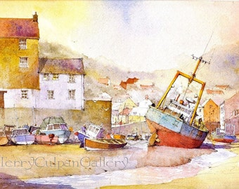 Cornwall Polperro Harbour Low Tide Red Blue Steel Fishing Trawler Hauling Gear Cottages Leisure Fishing Unique Watercolour Print Wall Art