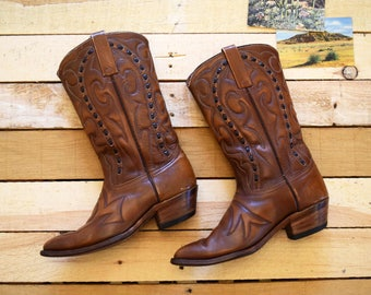 Vintage Men's 7 1/2 D (9 Women's) 60s-70s Durango West Brown Leather Cowboy Boots Made in USA Western