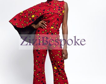 Red ZiziBespoke Shoulder Cape African Print Jumpsuit || Ankara Jumpsuits, African Print Jumpsuits, Bell Bottom Jumpsuits, Palazzo Rompers