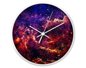Milky Way Wall Clock, Geek Wall Decor, Space Photography, Nerd Wallclock, Wood Clocks, Children Bedroom, Nebula Landscape, Galaxy Stars Art