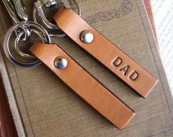 Personalized leather key chain  - select one : trigger snap or loop belt hook