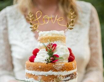 Gold love wedding cake topper, Cursive love gold cake topper, Leaf cake topper, Rustic chic wedding, Woodland, Calligraphy cake topper