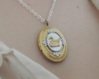 Swan locket // brass swan necklace