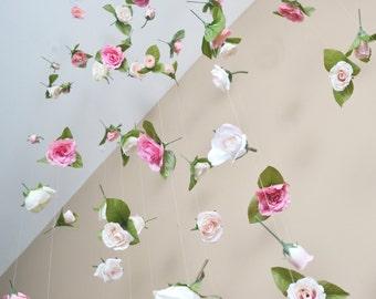 Wedding Backdrop, Silk Flower Curtain, Hanging Flowers, Hanging Silk Flowers, Hanging Flower Backdrop, Party Backdrop, Rose Backdrop, Flower