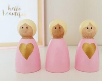 Heart Peg Girls, Peg People, Peg Dolls, New Baby Gift, Wooden Peg Dolls, Girls Nursery Decoration