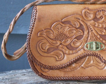 vintage | 1970s | tooled leather | brown | purse | handbag | floral motif | boho | southwestern | handcrafted