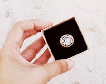 Rainbow Moonstone and Recycled Silver Geometric Ring. Handmade. Semi-precious Gemstone. Boho Ring. Signet Ring. Womens Statement Ring.