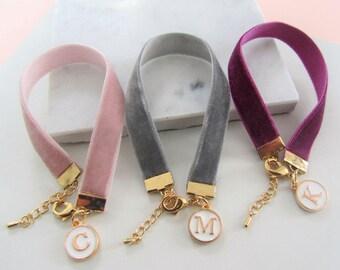 Personalised Bracelet,Velvet Bracelet,Personalized Jewelry,Cuff Bracelet,Bridesmaids Gifts,Gold Bracelet,Gold Letter Charm,Gift for Her