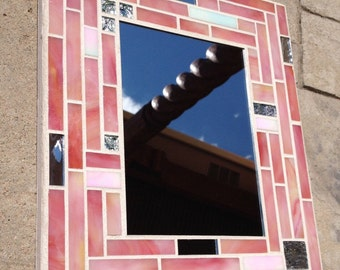 stained glass mosaic mirror mosaic mirror pink mirror pink stained glass bathroom