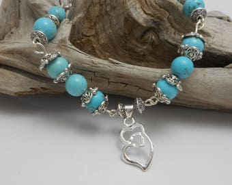 Double Heart Turquoise Beaded Bracelet - Sterling Silver Bracelet - Yoga Necklace