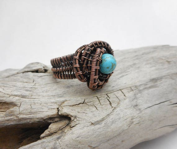 Copper Wire Wrapped Turquoise Ring - Turquoise Ring - Copper Ring -