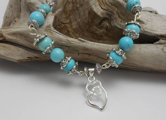 Double Heart Turquoise Beaded Bracelet - Sterling Silver Bracelet - Yoga Necklace