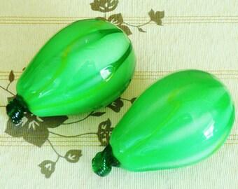 Studio art glass handblown 12.5cm green melon glass fruit Murano style vintage 1970s