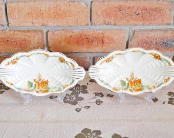 Royal Staffordshire Pottery A J Wilkinson Honeyglaze Art Deco creamware twin handled small oval serving dishes, autumn leaves