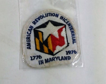 "Patch/Applique American Revolution Bicentennial 1776-1976 In Maryland/3"" By 2.75""/Free Shipping Within The Cont. USA"