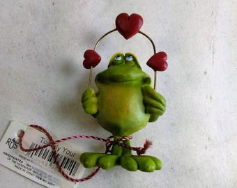 "Hallmark ""Toadily Your"" Frog Figurine With A Rin Of Hearts/2.5"" High/New (B)"