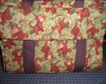 Diaper Bag and Changing Pad made with Monkey Fabric