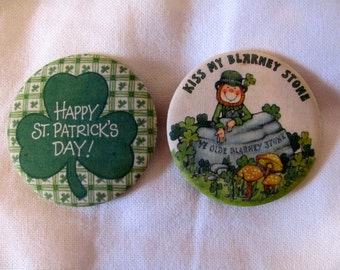 Vintage 70s St. Patrick's Day and Blarney Stone Pins