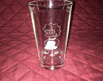 4 Hand Etched Simpsons Pint Glasses!