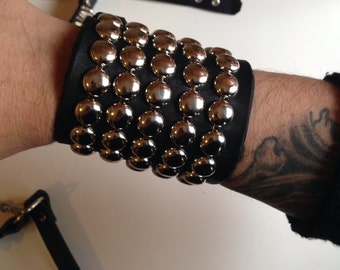 Five row dome studded leather bracelet