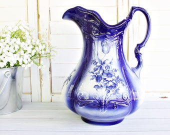 Antique RS Prussia Pitcher | Extra Large Pitcher, Blue Pitcher, Vintage Pitcher, Blue White Pitcher, Floral Pitcher