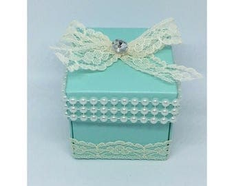 24 Aqua Favor Boxes with Lace and Faux Pearls
