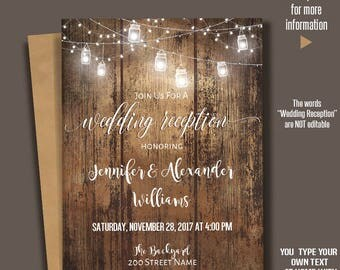 Printable Wedding Reception Invitation, Rustic Wedding Reception, Barn wedding Templates, Instant Download Self-Editable PDF A234