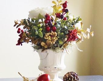Holiday Centerpiece, Flower Centerpiece, Table Centerpiece, Floral Centerpiece