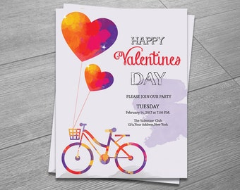 Valentines  Flyer Template | Valentine's Party Invitation Flyer | Ms Word,Photoshop & Elements Template | Instant Download
