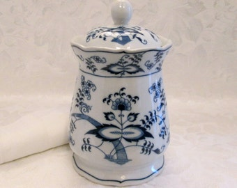 Vintage Lipper and Mann Blue Danube Biscuit Cookie Candy Jar, Banner Mark - Japan