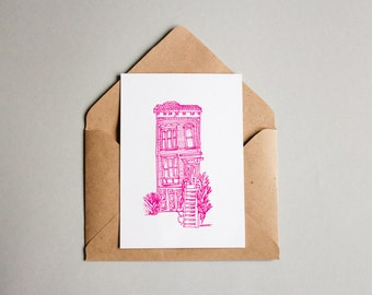 Home house printable instant download postcard,mini poster,handdraw,violet ink drawing postcard,city building card,homecard architecture
