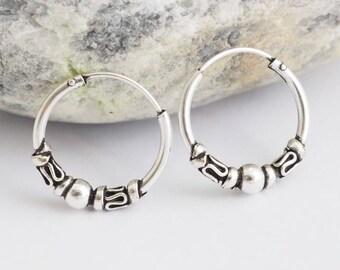 "925 Sterling Silver Small Balinese Beaded Endless Hoop Earring Tribal Fashion Earring Hoops Cartilage Earrings 9/16"" (14mm)"