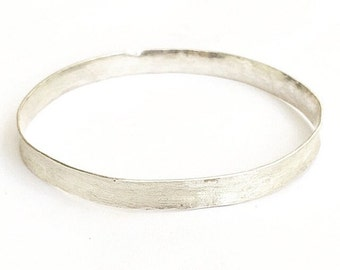 Silver Bangle - Solid Silver Bangle - Sterling Silver Bangle - White Horses Bangle - Wide Bangle - Anticlastic Raised Bangle - Gifts for Her