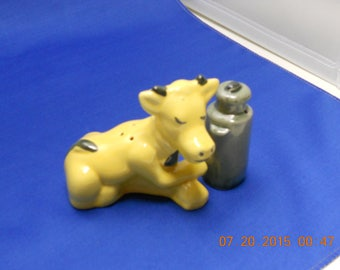 vintage yellow cow with milk can salt & pepper