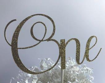 ONE Gold Glitter Cake Topper, Age Cake Topper