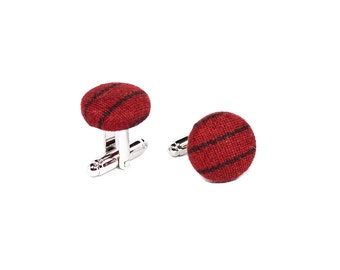 Red black stripe cufflinks, Silver cuff links, Cotton cufflinks for men, Mens jewelry