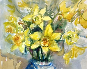 Daffodils in blue vase, Original watercolour painting, Still-life floral painting, spring yellow flowers, 30x40cm.