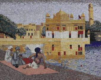 Beautiful Calming Landscape Wall Art Marble Mosaic FG1099
