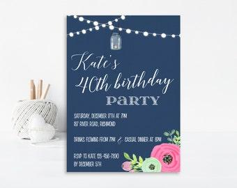 40th Birthday Invitation, Adult Birthday, Birthday Party Invitation, Surprise Birthday, Printable Invitation, 40th Birthday Invite, Floral