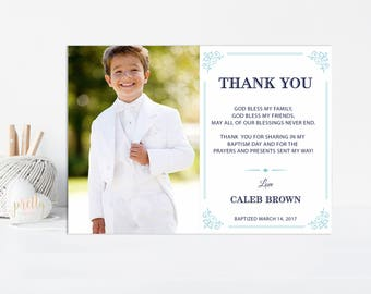 Baptism Thank You Card, Boy Baptism Thank You Note, First Communion Thank You Card, Christening Thank You, Printable, Blue, Baptism Card