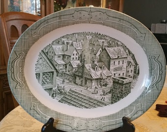 """Rare Vintage The Old Curiosity Shop Oval Shaped Platter 13"""", Made In U.S.A.,Green and white, Royal China, Currier and Ives, underglaze,"""