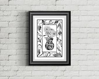 SALE Flowers in Vase / A4 Art Print / Wall art / Wall Décor