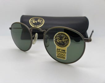 New Ray Ban B&L W1576 Small Round Metal Bronze G-15 47mm with Defects