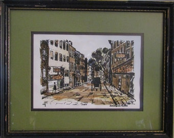 Canadian-Quebec Rue St. Louis original watercolor signed Ray